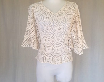 SALE Vintage 1970s Crocheted Top with Bat Wing Sleeves