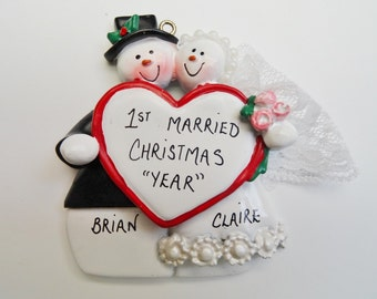 Bride and Groom Personalized Christmas Ornament - 1st Married Christmas Ornament - Personalized Free