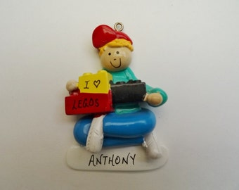 Personalized Christmas Ornament for Boy that likes Lego or Building Blocks  - Personalized Free