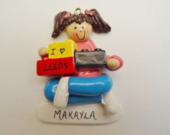 Personalized Christmas Ornament for Girl that Loves Legos or Building Blocks - Personalized Free