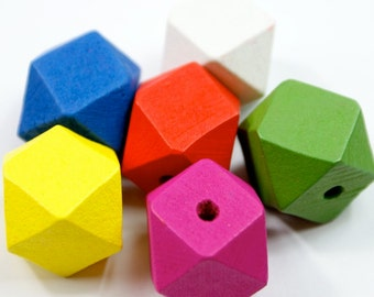 Bright Wooden Hexagonal Beads