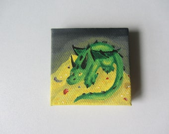 Dragon with Pile of Treasure Painting, 2x2 square canvas