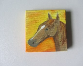 Horse Painting, 2x2 square canvas