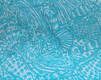 Lilly Pulitzer Shorely Blue Sea Cups Cotton Dobby Fabric