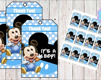 Baby Mickey Mouse Thank you Tags, Favor Tags INSTANT DOWNLOAD