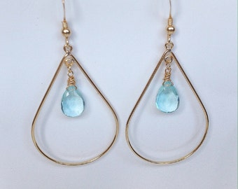 Gold Earrings, gold earrings, earrings with Topaz, Topaz, Blue Topaz Earrings, earrings with dangling earrings with Blue Topaz