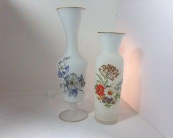 2 Vintage White Frosted Glass Flower Vases
