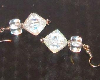 Crystal Pyramid dangle earrings, Jewelry,fish hooks