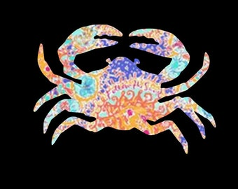 Patterned Crab Vinyl Decal ~ what can YOU decorate with this?  Possibilities are endless!!