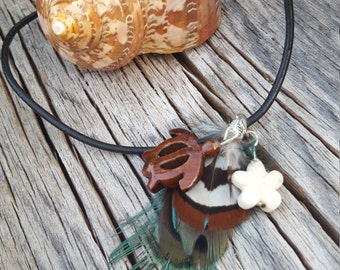 Teal, White and Brown Feather with Small Wooden Turtle and White Flower Necklace on Black Leather Cord