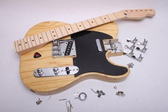 items similar to build your own electric guitar kit licensed fender tele kit natural high. Black Bedroom Furniture Sets. Home Design Ideas