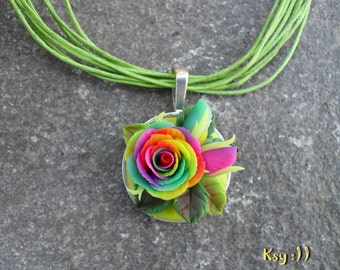 Roses Necklace.Rainbow Rose.Rainbow Necklace.Rainbow Flower.Roses Jewelry.Gift for Her.Colorful Pendant