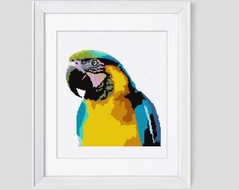 Cross stitch pattern, Blue & Gold Macaw cross stitch pdf pattern, parrot counted cross stitch pattern, modern cross stitch parrot pattern