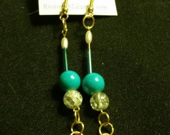 Ooak gold dangle beaded 4in earrings