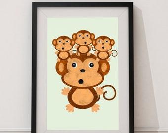 Big Monkey Little Monkeys Print.
