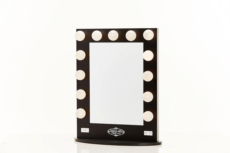 Broadway Lighted Vanity Mirror Black by HollywoodVanityGirl