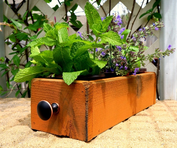 Kitchen Window Herb Planter: Cedar Herb Planter Box Indoor Planter Window By