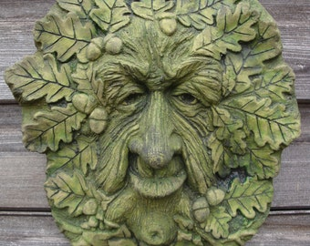 large wise happy green man decorative wall plaque. Black Bedroom Furniture Sets. Home Design Ideas
