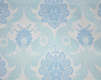 One Yard of Blue and Aqua Blue 100% Cotton Damask Quilt Fabric by Waverly