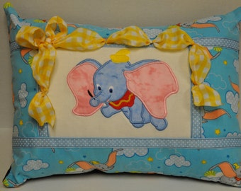 "RARE! 12"" x 16""  Dumbo Elephant Appliqued Embroidered Home Decorative Pillow"