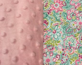 Modern Floral Minky Blanket - Baby Pink