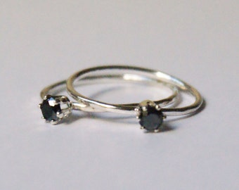 Black Diamond - Sterling silver and black diamond Engagement ring