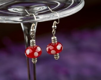 Pink Spotted Glass Bead Earrings, Lampwork Beads