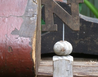 Vintage Wood Letter N on Architectural Salvage Pedestal, Initial on Victorian Spindle Base, Personalized N