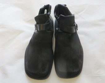 Leombruni Shoes/black/Men/Man/Square toeline/leather sole/leather and suede combination/UK 7/EU 41