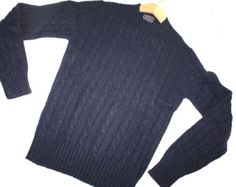 Men's Wool Sweater Vintage GANT The RUGGER Blue cable knit Size Small Made in Hong Kong