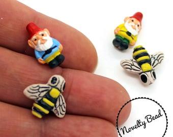 4 - Small - Gnome & Honey Bee Beads - Garden Gnome - Red Cap Gnome - Novelty - Ceramic