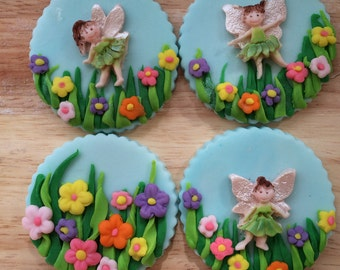 12- fairy and flowers cupcake toppers made from fondant