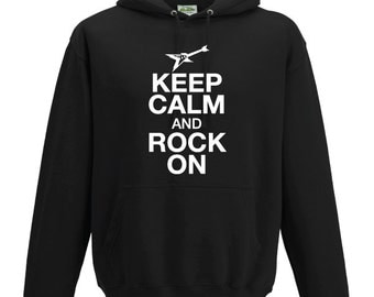 Keep Calm and Rock On Guitar Hooded Sweatshirt. Unisex Quality sweatshirt