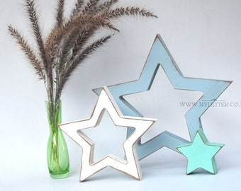 Wooden Stars - Rustic Wood Star - freestanding star - distressed stars