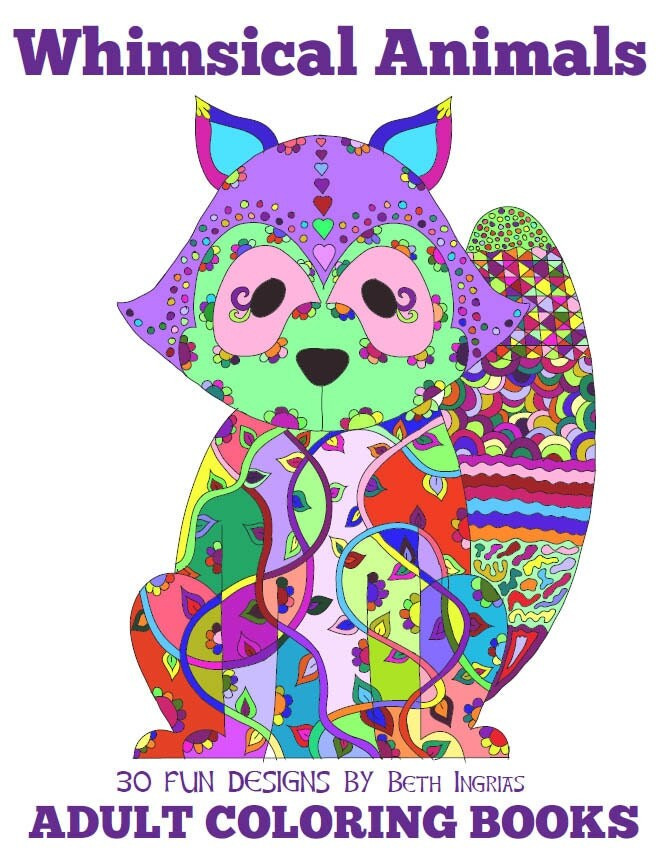 Adult Coloring Books Whimsical Animals 30 Designs Digital