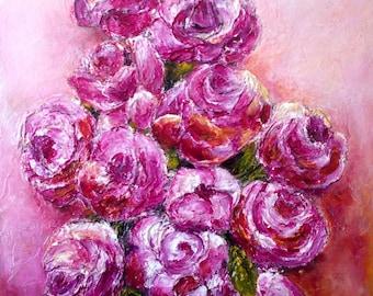 Fuschia Roses, Acrylic Painting