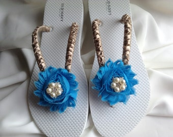 Blue Bridal Flip Flops Bridesmaid Flip Flop Bridal Sandals, Beach Wedding Sandals, Wedding Flip Flops Bridal Sandals Pearl Flip Flop