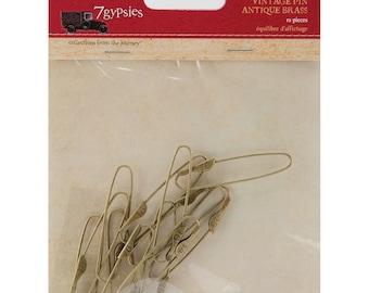 """7Gypsies Vintage Pins 1.5""""X.25"""" 12/Pkg-Brass"""