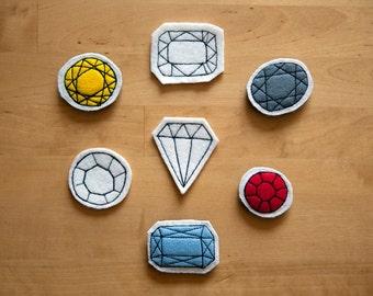 "Hand embroidered pendant ""precious stones"""