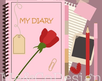My Diary Clipart, Fun Pretty Clipart, Stationary, Planner Clipart Instant Download, Personal and Commercial Use Clipart, Digital Clip Art