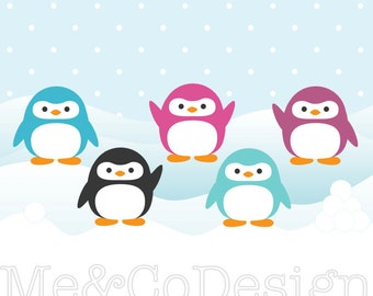 Penguins Clipart, Fun Pretty Clipart, Winter, Snow Instant Download, Personal and Commercial Use Clipart, Digital Clip Art