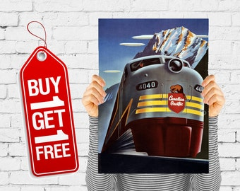 Train vintage poster paper trains retro advertising print vintage poster office decor wall art design gift - Canadian Pacific Train (2427)