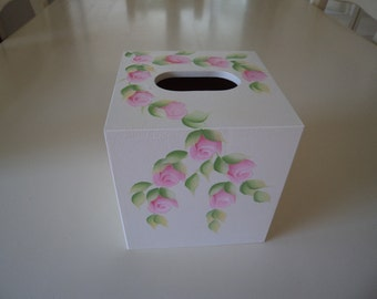 Hand Crafted and Hand Painted Pink Rosebud Mdf Cube Tissue Box Cover