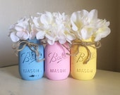 Gender Reveal Jars, Baby Shower Mason Jars, Baby Shower Decor, Shabby and Chic, Distressed Mason Jars, Baby Shower Centerpieces, Baby Gift