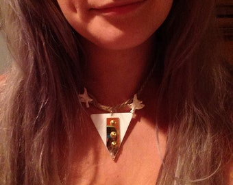 Triangle spiked pendant with Vertebrae bone necklace
