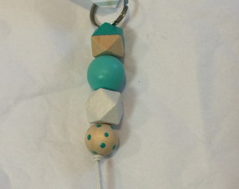 Wooden bead keyring // aqua // key chain