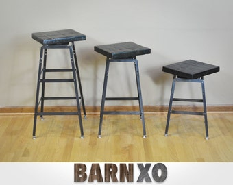 Reclaimed Barn Wood Stool | Swivel Seat