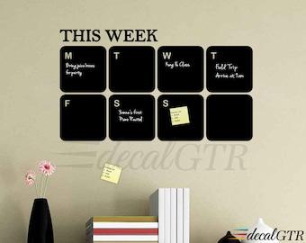 Chalkboard Decal Chalkboard Calendar - weekly calendar - 13x22 or 20x34 - weekly planner vinyl - Chalk board Week Wall Calendar - C011