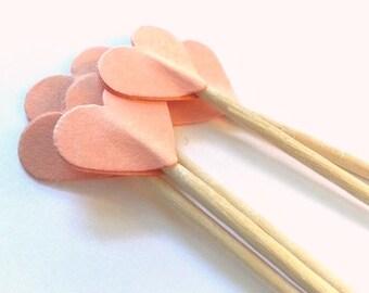 24 Peach Heart Toothpicks