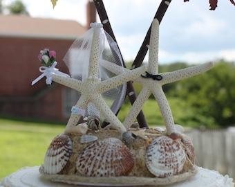 Starfish Bride & Groom Wedding Cake Topper / Destination Wedding / Beach Wedding Cake Top /